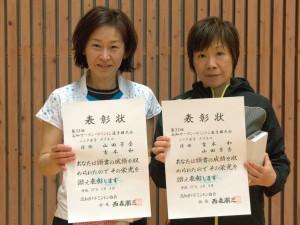 シニア女子ダブルス優勝 山田芳香・吉本和(東京都・フットワーク)
